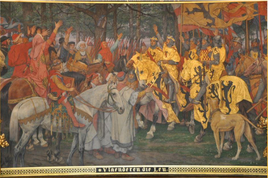 'Vlaenderen die Leu' is een strijdkreet die ontstond na de Guldensporenslag in 1302.